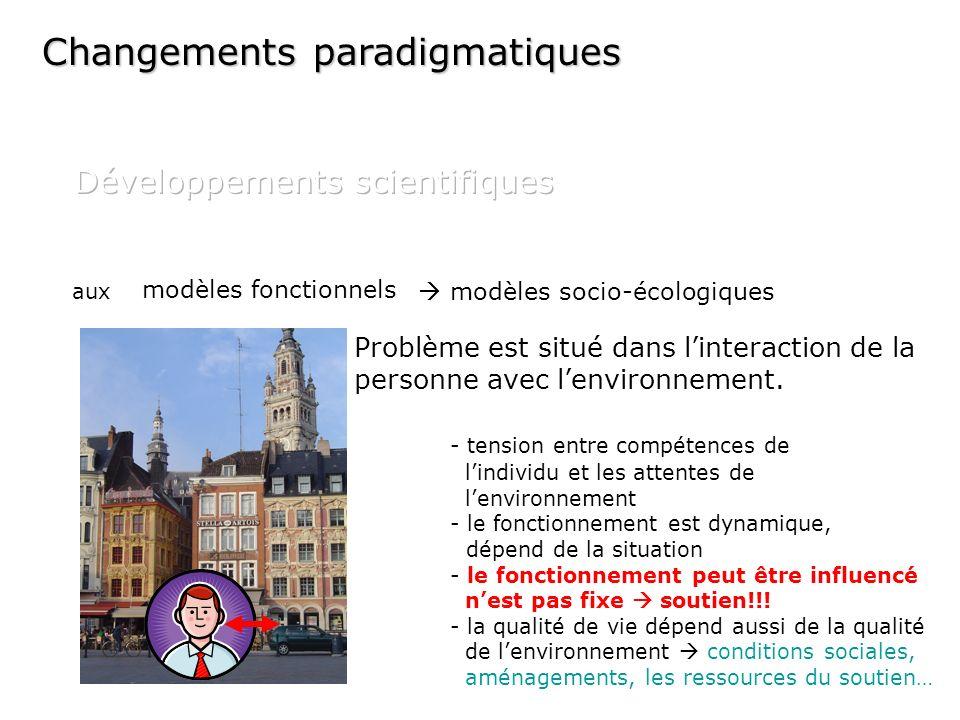 modèles fonctionnels Problème est situé dans linteraction de la personne avec lenvironnement. - tension entre compétences de lindividu et les attentes