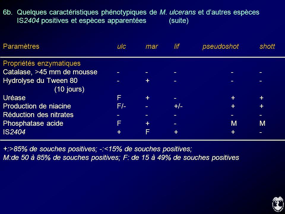 6b. Quelques caractéristiques phénotypiques de M. ulcerans et dautres espèces IS2404 positives et espèces apparentées (suite) Paramètres ulcmarlifpseu