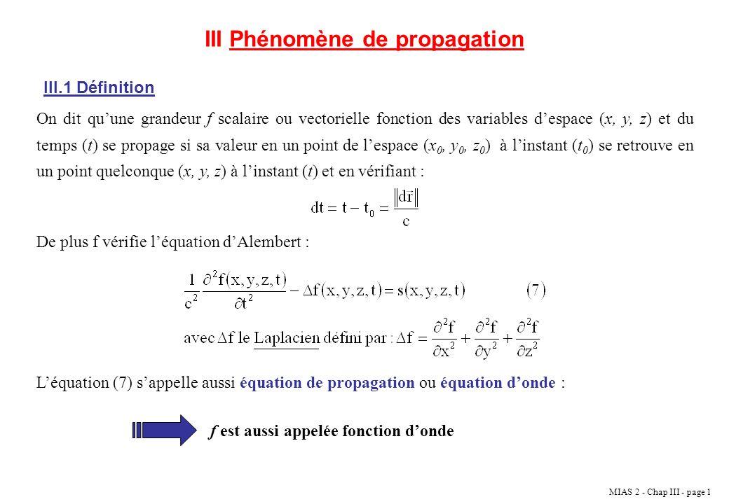 MIAS 2 - Chap III - page 2 Dans léquation donde : c représente la vitesse de propagation de londe f.