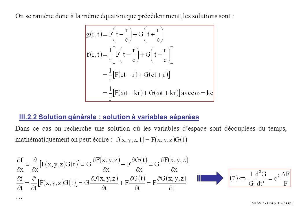 MIAS 2 - Chap III - page 18 Onde plane stationnaire Superposition de deux ondes planes progressives se propageant en sens différents Il vient aussi quune plane progressive est la superposition de ondes stationnaires : III.6 Modes Propres Prenons comme exemple une corde de longueur finie (L) et fixée à ses deux extrémités.