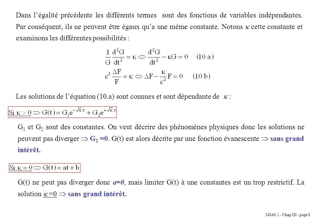 MIAS 2 - Chap III - page 19 La corde étant fixée à ses extrémités, la solution de léquation précédente doit vérifier les conditions aux limites.