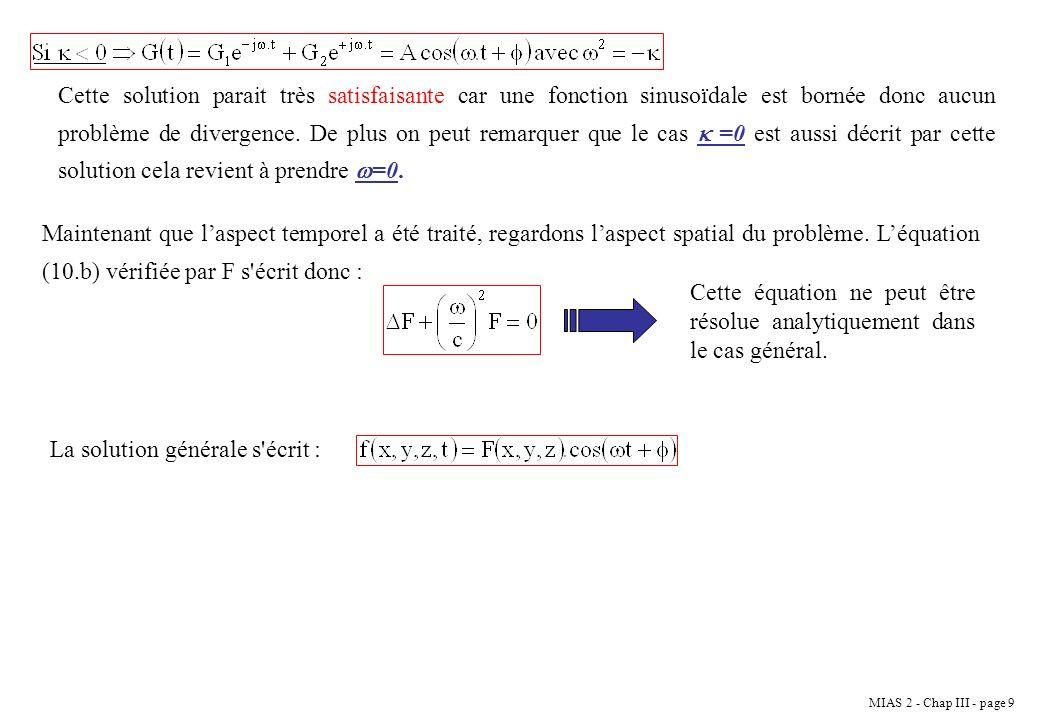 MIAS 2 - Chap III - page 20 Etant donné que la constante A est indéterminée, on peut toujours rebaptiser A par -A.sin( ).