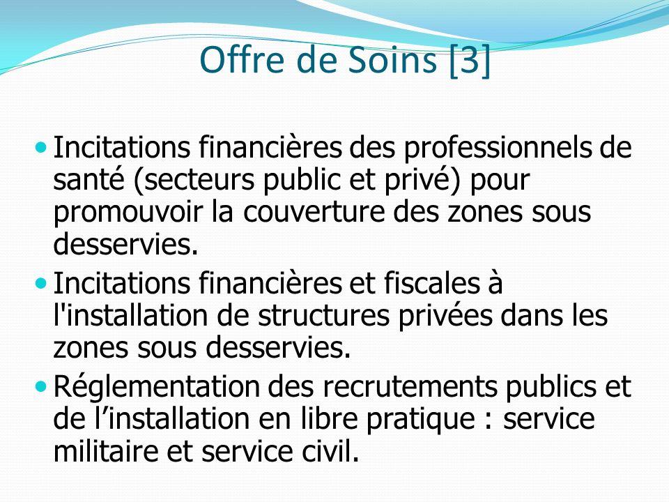 Offre de Soins [3] Incitations financières des professionnels de santé (secteurs public et privé) pour promouvoir la couverture des zones sous desservies.