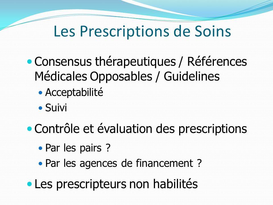 Les Prescriptions de Soins Consensus thérapeutiques / Références Médicales Opposables / Guidelines Acceptabilité Suivi Contrôle et évaluation des prescriptions Par les pairs .