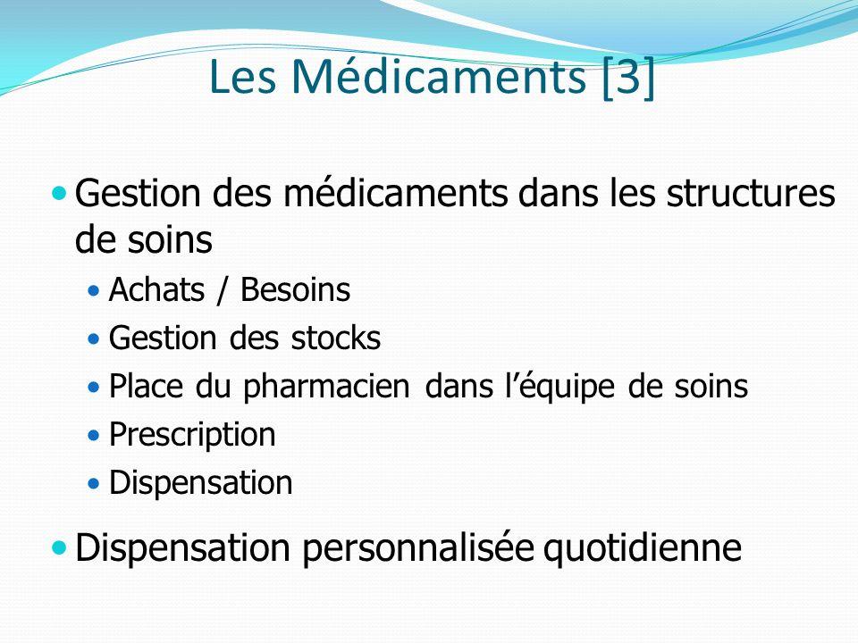 Les Médicaments [3] Gestion des médicaments dans les structures de soins Achats / Besoins Gestion des stocks Place du pharmacien dans léquipe de soins Prescription Dispensation Dispensation personnalisée quotidienne