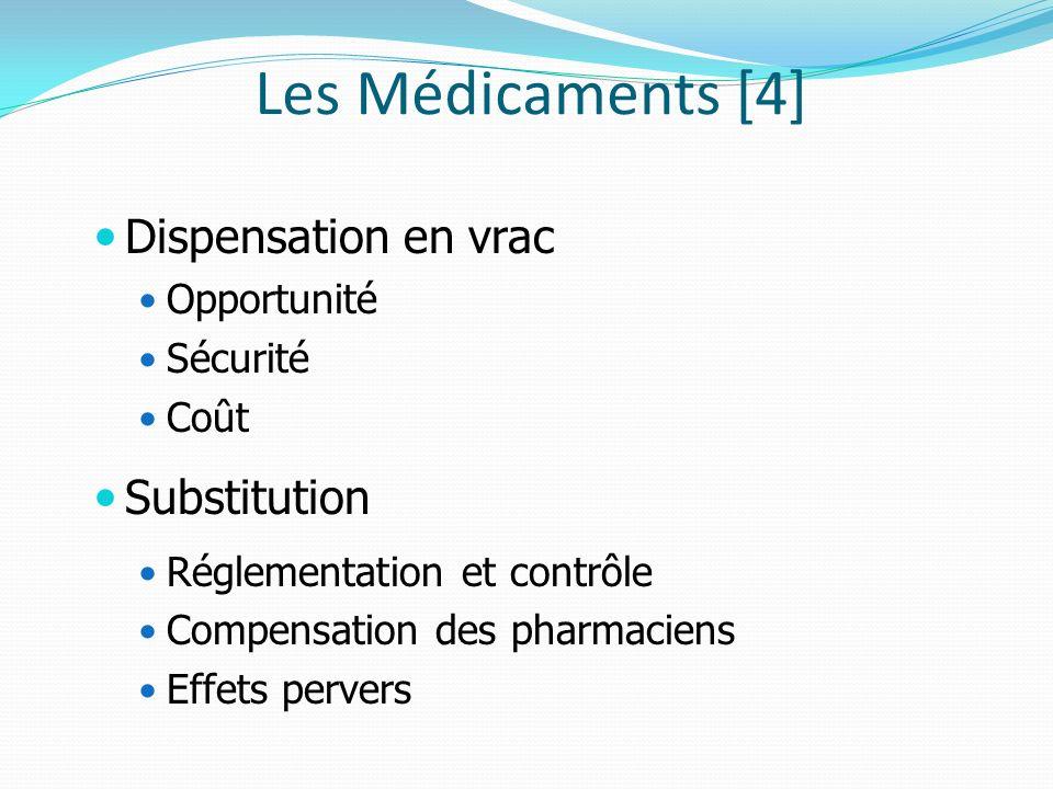 Les Médicaments [4] Dispensation en vrac Opportunité Sécurité Coût Substitution Réglementation et contrôle Compensation des pharmaciens Effets pervers