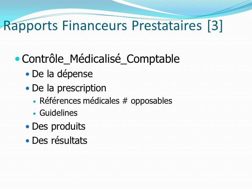 Rapports Financeurs Prestataires [3] Contrôle_Médicalisé_Comptable De la dépense De la prescription Références médicales # opposables Guidelines Des produits Des résultats