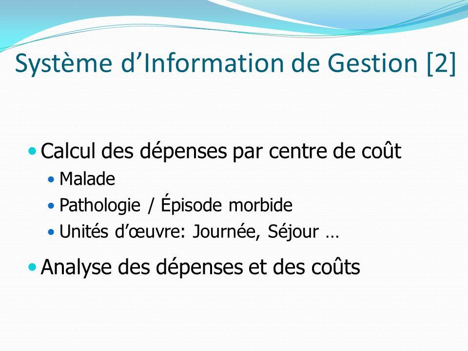 Système dInformation de Gestion [2] Calcul des dépenses par centre de coût Malade Pathologie / Épisode morbide Unités dœuvre: Journée, Séjour … Analys