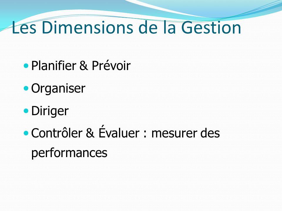 Les Dimensions de la Gestion Planifier & Prévoir Organiser Diriger Contrôler & Évaluer : mesurer des performances