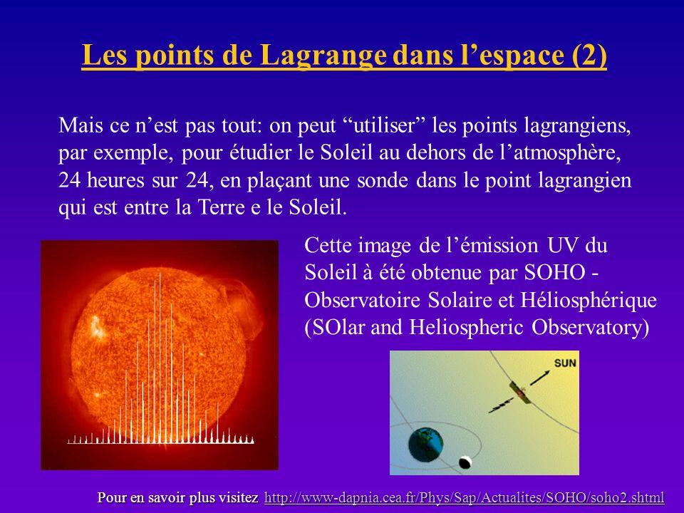 Les points de Lagrange dans lespace (2) Mais ce nest pas tout: on peut utiliser les points lagrangiens, par exemple, pour étudier le Soleil au dehors