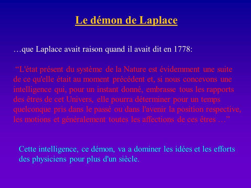 Le démon de Laplace …que Laplace avait raison quand il avait dit en 1778: L'état présent du système de la Nature est évidemment une suite de ce qu'ell