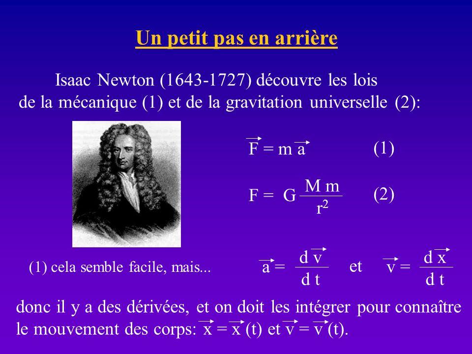 Un petit pas en arrière Isaac Newton (1643-1727) découvre les lois de la mécanique (1) et de la gravitation universelle (2): F = m a F = G M m r2r2 (1