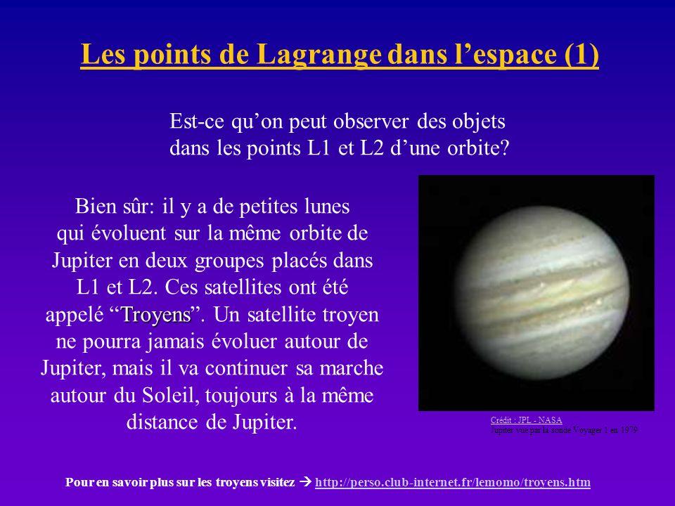 Les points de Lagrange dans lespace (2) Mais ce nest pas tout: on peut utiliser les points lagrangiens, par exemple, pour étudier le Soleil au dehors de latmosphère, 24 heures sur 24, en plaçant une sonde dans le point lagrangien qui est entre la Terre e le Soleil.