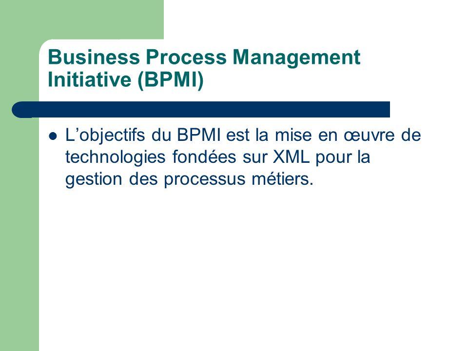 Business Process Management Initiative (BPMI) Lobjectifs du BPMI est la mise en œuvre de technologies fondées sur XML pour la gestion des processus mé
