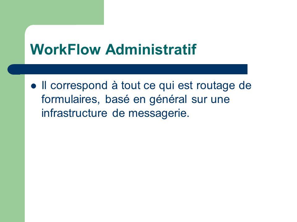 WorkFlow Administratif Il correspond à tout ce qui est routage de formulaires, basé en général sur une infrastructure de messagerie.