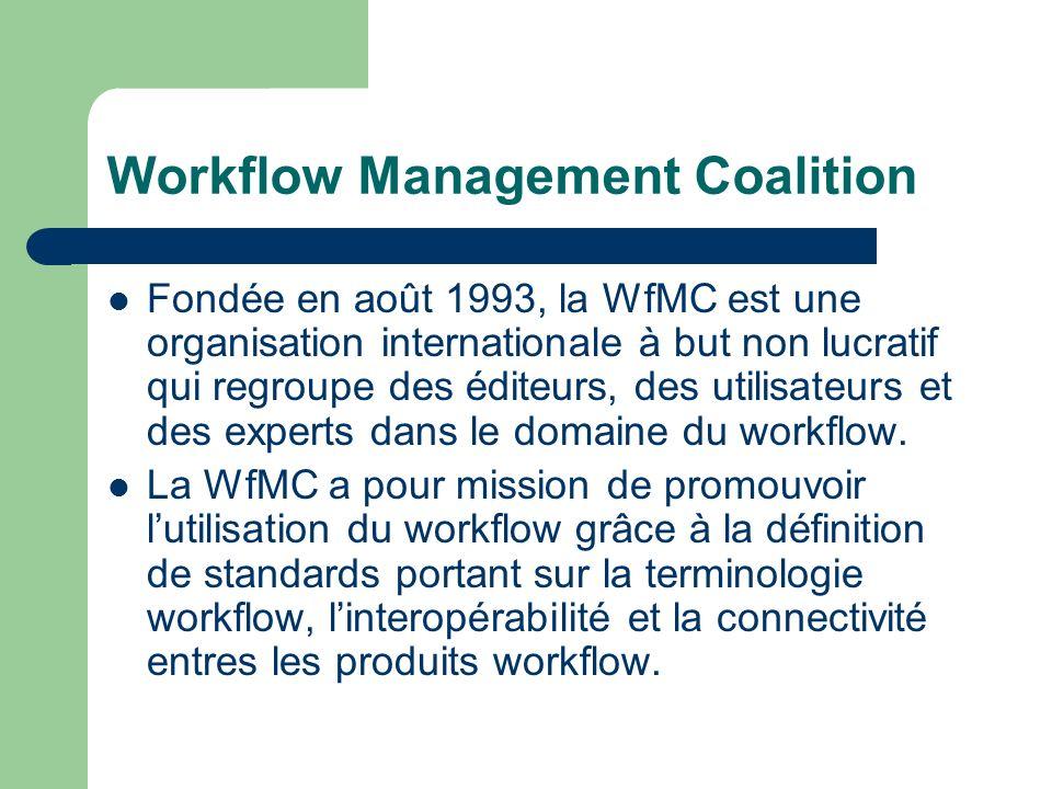Workflow Management Coalition Fondée en août 1993, la WfMC est une organisation internationale à but non lucratif qui regroupe des éditeurs, des utili