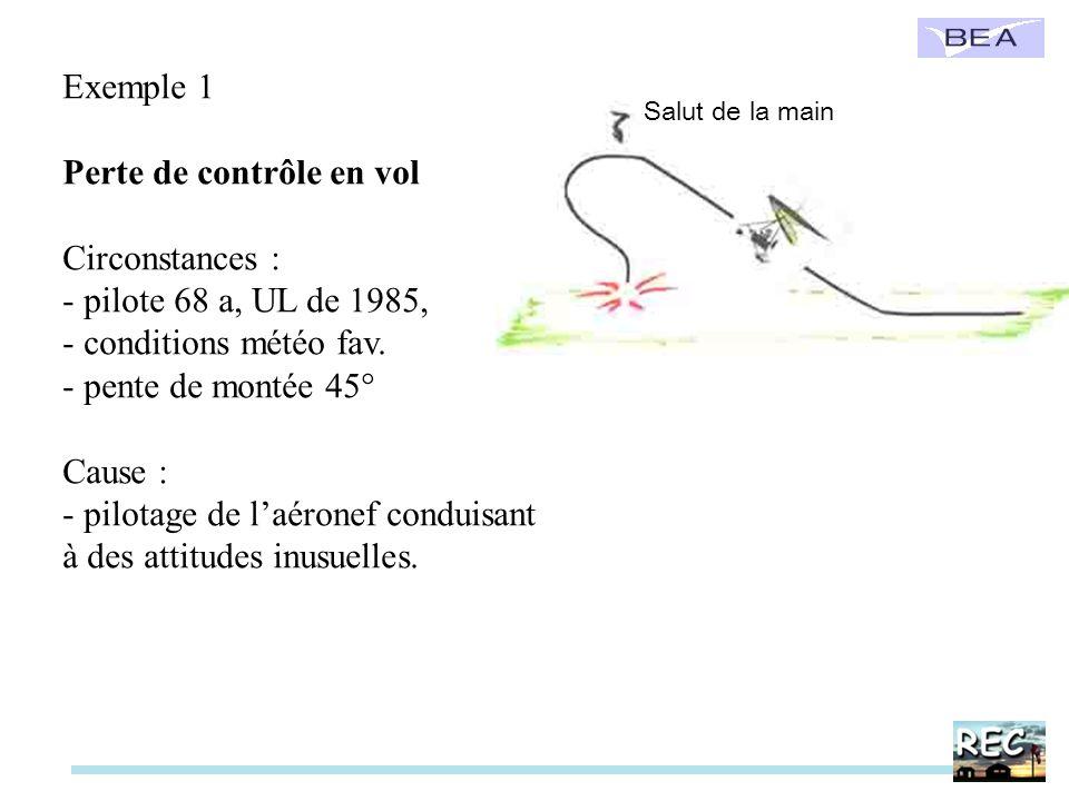 Exemple 1 Perte de contrôle en vol Circonstances : - pilote 68 a, UL de 1985, - conditions météo fav. - pente de montée 45° Cause : - pilotage de laér