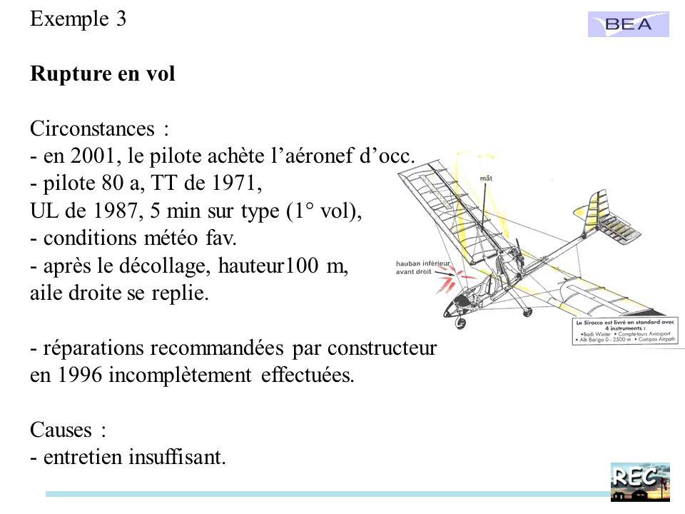 Exemple 3 Rupture en vol Circonstances : - en 2001, le pilote achète laéronef docc. - pilote 80 a, TT de 1971, UL de 1987, 5 min sur type (1° vol), -