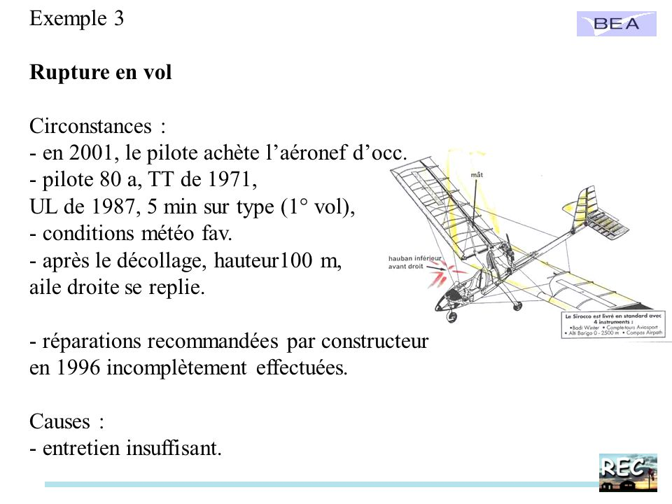 Exemple 4 Rupture en vol Circonstances : - pilote 49 a, UL de 1999, - conditions météo fav.