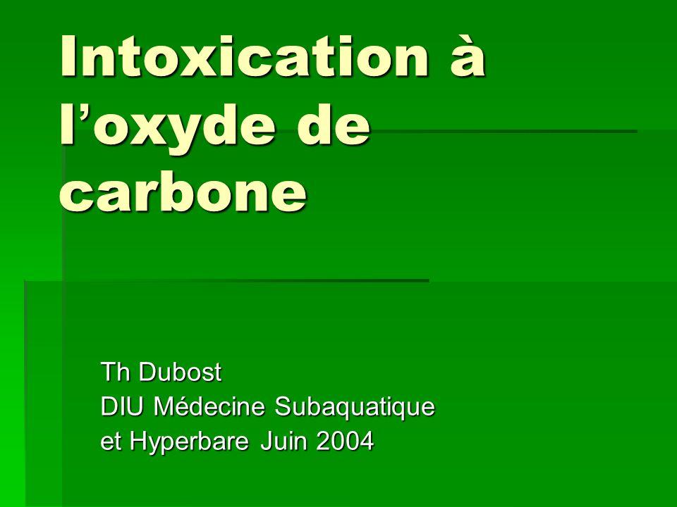Intérêt de l OHB Délivrance normale dO2 immédiate par augmentation de lO2 dissous Délivrance normale dO2 immédiate par augmentation de lO2 dissous Accélération de la dissociation de lHbCO (loi daction de masse) Accélération de la dissociation de lHbCO (loi daction de masse) La dissociation des autres hémoprotéines est beaucoup plus lente (48 à 72 h) et dépend de la PO2 tissulaire La dissociation des autres hémoprotéines est beaucoup plus lente (48 à 72 h) et dépend de la PO2 tissulaire Action sur lœdème cérébral Action sur lœdème cérébral
