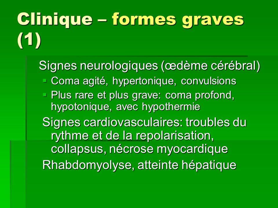 Clinique – formes graves (1) Signes neurologiques (œdème cérébral) Coma agité, hypertonique, convulsions Coma agité, hypertonique, convulsions Plus ra