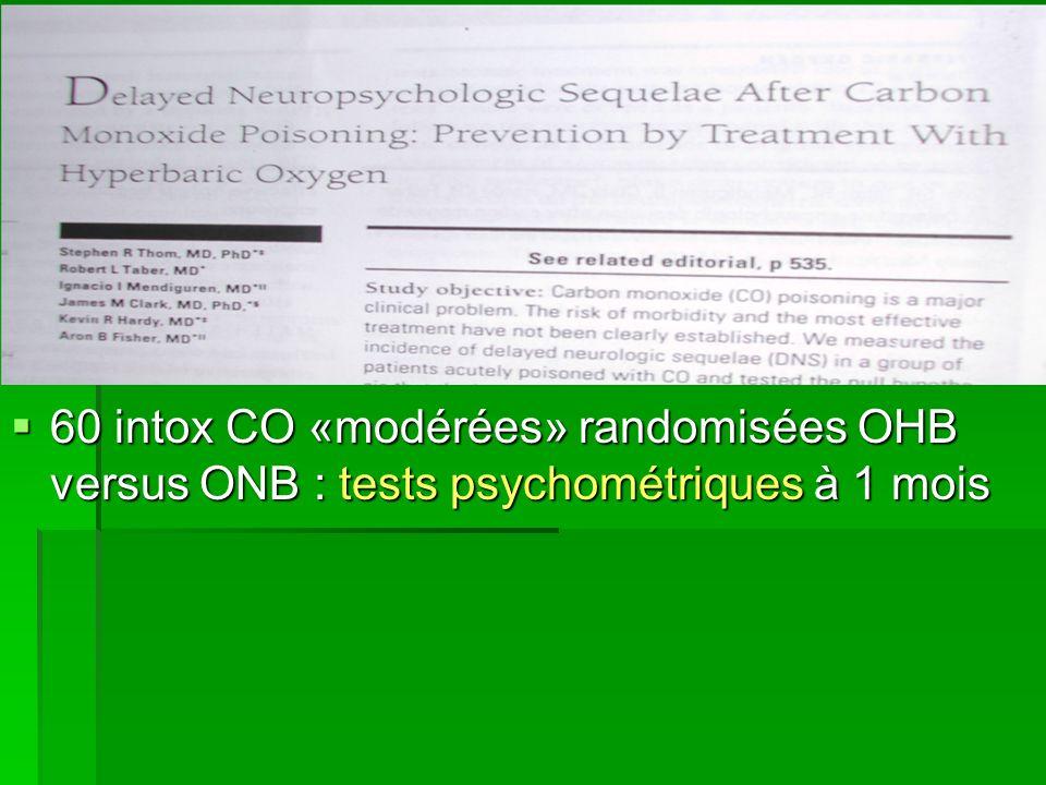 60 intox CO «modérées» randomisées OHB versus ONB : tests psychométriques à 1 mois 60 intox CO «modérées» randomisées OHB versus ONB : tests psychomét