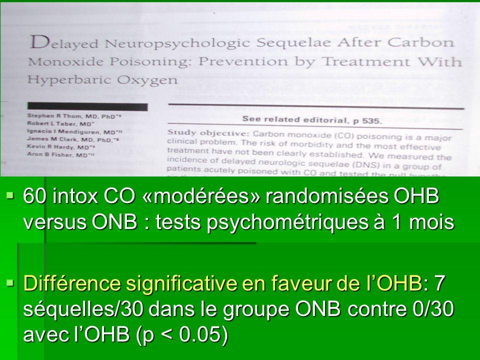 Différence significative en faveur de lOHB: 7 séquelles/30 dans le groupe ONB contre 0/30 avec lOHB (p < 0.05) Différence significative en faveur de l