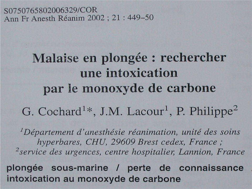 Monoxyde de carbone et plongée Cochard, AFAR 2002 2 cas de malaises en plongée avec des taux élevés de carboxyhémoglobine 2 cas de malaises en plongée avec des taux élevés de carboxyhémoglobine Dans un de ces cas toute la palanquée avait des taux élevés et le bloc de la victime contenait 480 ppm de CO Dans un de ces cas toute la palanquée avait des taux élevés et le bloc de la victime contenait 480 ppm de CO La pression partielle de CO augmente avec la profondeur… La pression partielle de CO augmente avec la profondeur…
