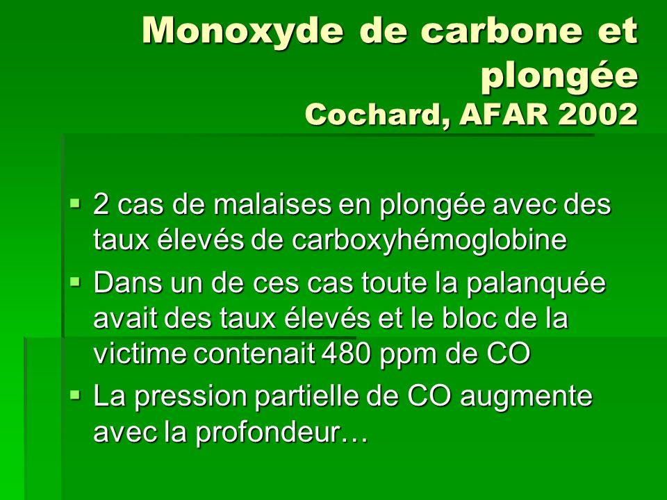 Monoxyde de carbone et plongée Cochard, AFAR 2002 2 cas de malaises en plongée avec des taux élevés de carboxyhémoglobine 2 cas de malaises en plongée