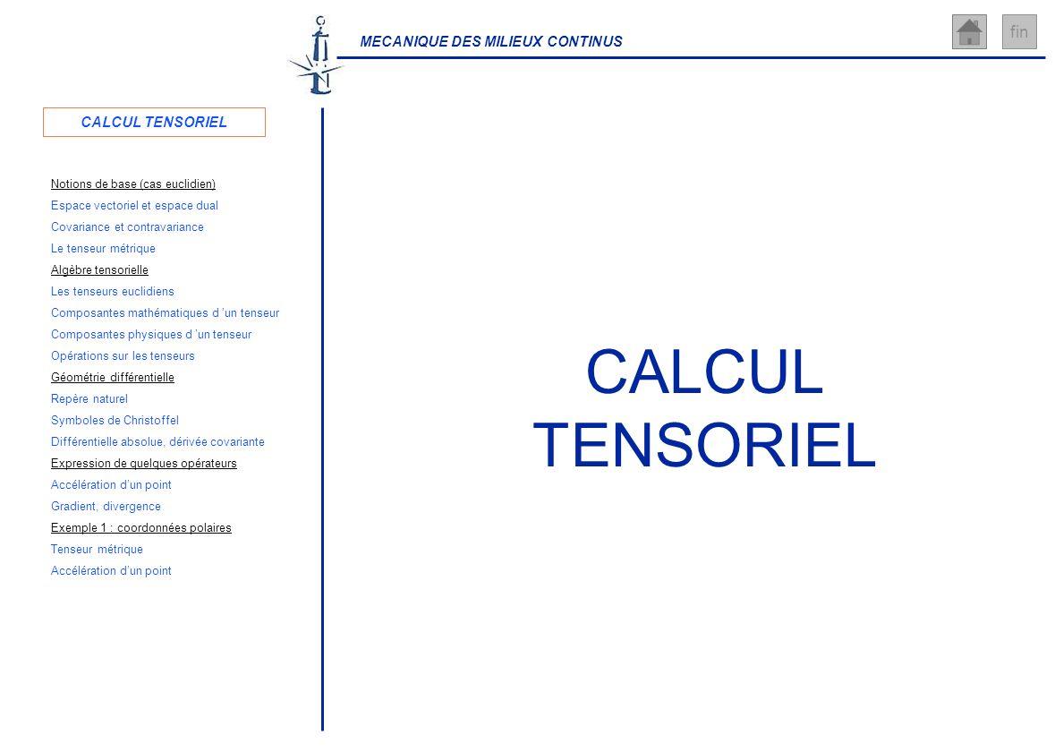 MECANIQUE DES MILIEUX CONTINUS fin CALCUL TENSORIEL Covariance et contravariance Repère naturel Notions de base (cas euclidien) Géométrie différentiel