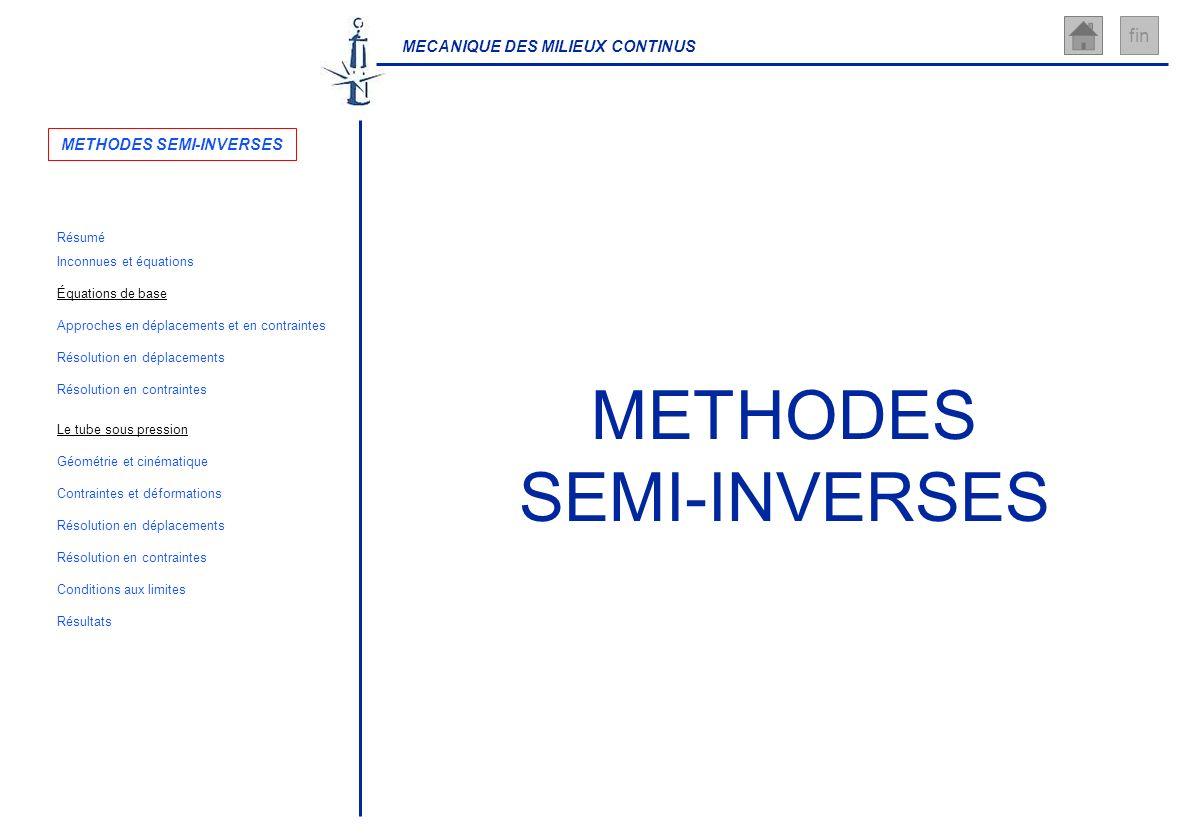 MECANIQUE DES MILIEUX CONTINUS fin METHODES SEMI-INVERSES Inconnues et équations Résolution en déplacements Géométrie et cinématique Résolution en con