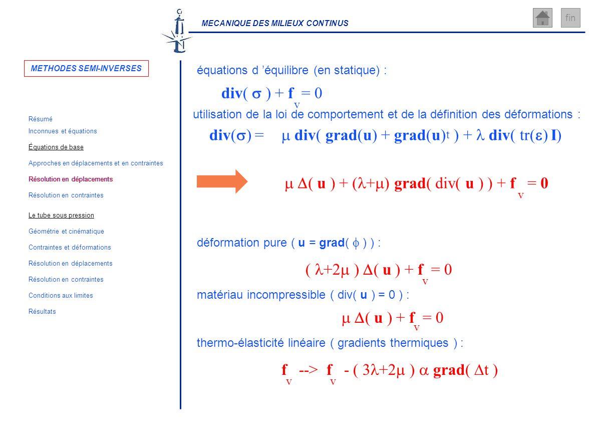 MECANIQUE DES MILIEUX CONTINUS fin div( ) = div( grad(u) + grad(u) ) + div( tr( ) I) t ( u ) + ( + ) grad( div( u ) ) + f = 0 v utilisation de la loi