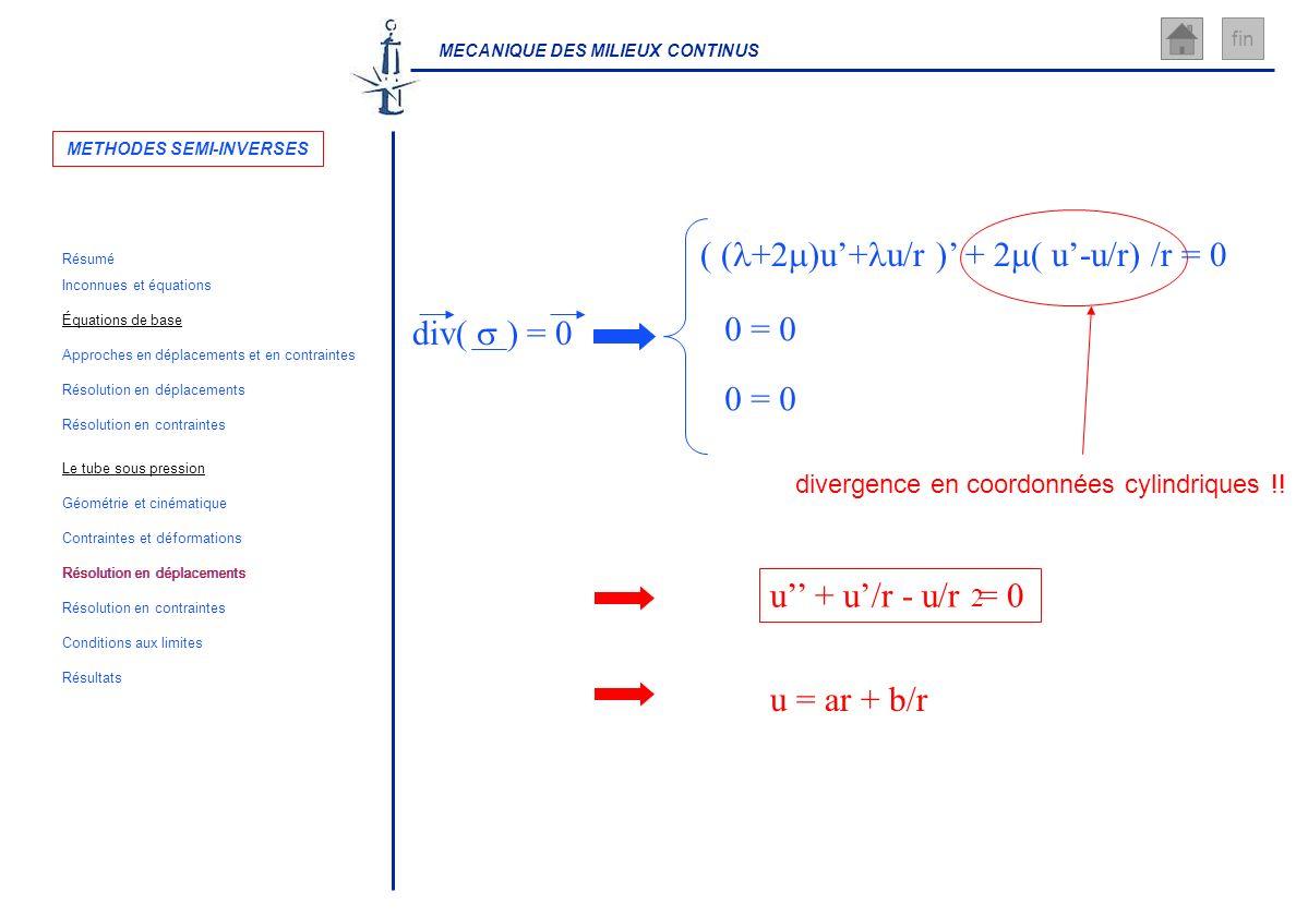 MECANIQUE DES MILIEUX CONTINUS fin divergence en coordonnées cylindriques !! ( ( +2 )u+ u/r ) + 2 ( u-u/r) /r = 0 0 = 0 u + u/r - u/r = 0 2 u = ar + b