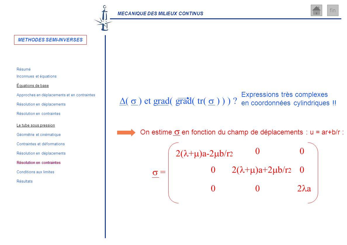 MECANIQUE DES MILIEUX CONTINUS fin Expressions très complexes en coordonnées cylindriques !! ( ) et grad( grad( tr( ) ) ) ? = 2( + )a- b/r 00 00 00 2