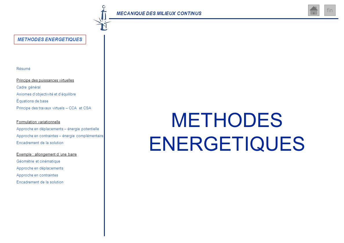MECANIQUE DES MILIEUX CONTINUS fin METHODES ENERGETIQUES Résumé Axiomes dobjectivité et déquilibre Géométrie et cinématique Principe des puissances vi
