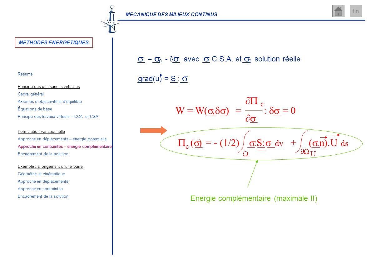 MECANIQUE DES MILIEUX CONTINUS fin Energie complémentaire (maximale !!) = 0 - avec C.S.A. et 0 solution réelle grad(u) = S : W = W(, ) = : = 0 c ( ) =