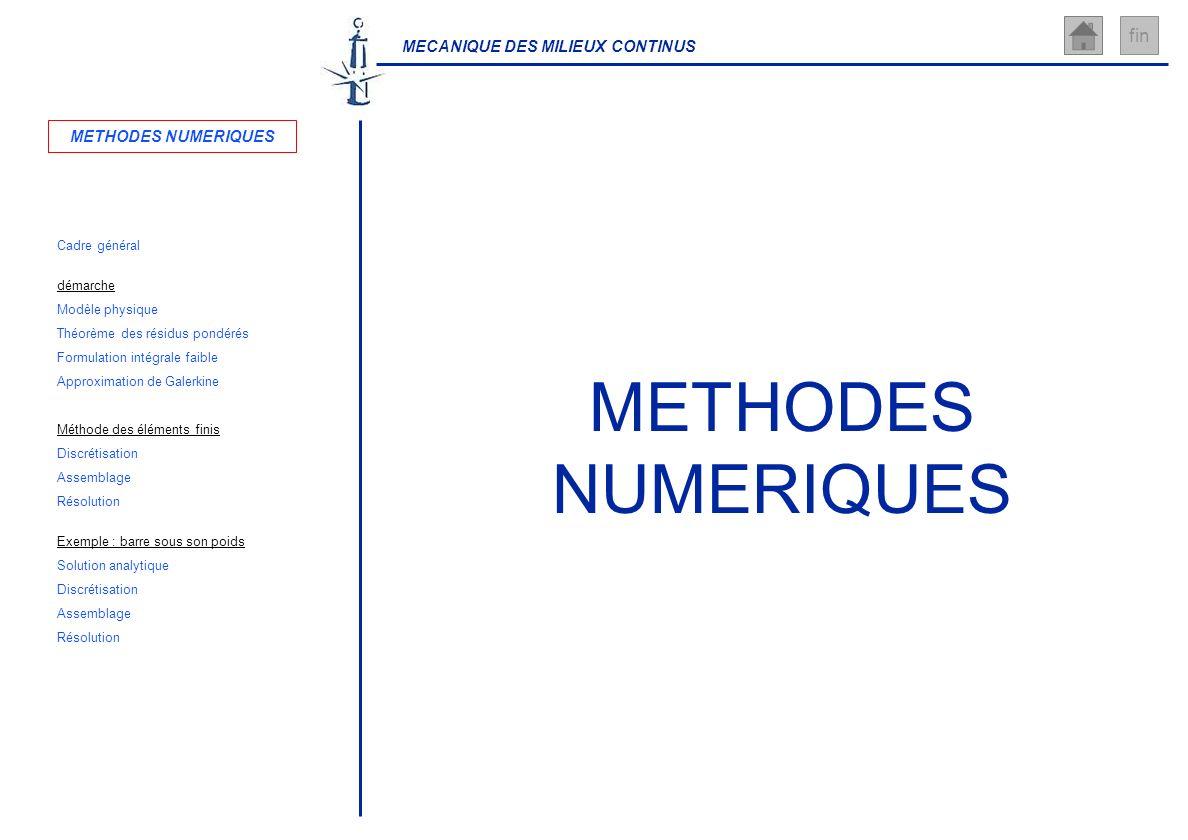 MECANIQUE DES MILIEUX CONTINUS fin METHODES NUMERIQUES Cadre général Théorème des résidus pondérés Solution analytique démarche Exemple : barre sous s