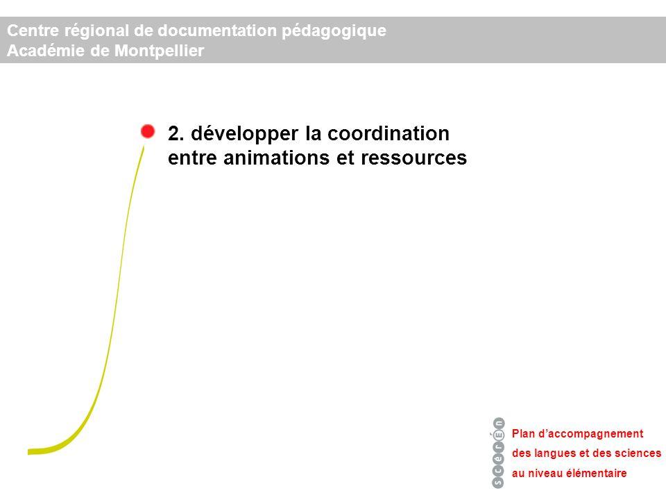 2. développer la coordination entre animations et ressources Plan daccompagnement des langues et des sciences au niveau élémentaire Centre régional de