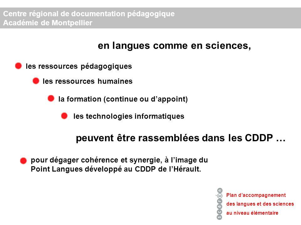 Plan daccompagnement des langues et des sciences au niveau élémentaire en langues comme en sciences, les ressources pédagogiques les ressources humaines les technologies informatiques la formation (continue ou dappoint) peuvent être rassemblées dans les CDDP … pour dégager cohérence et synergie, à limage du Point Langues développé au CDDP de lHérault.
