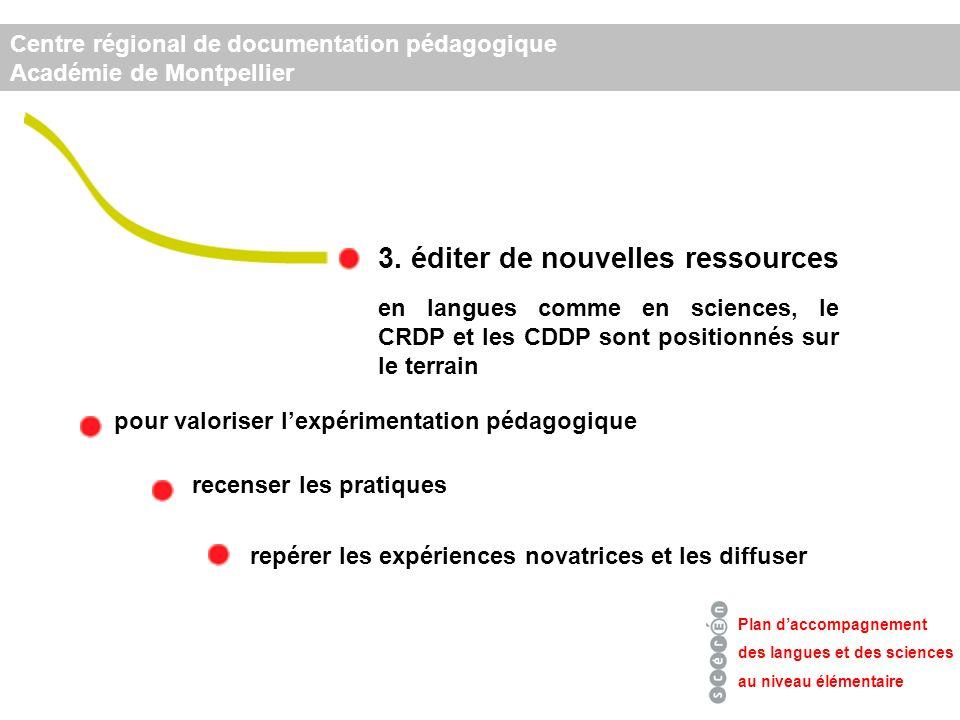 3. éditer de nouvelles ressources Plan daccompagnement des langues et des sciences au niveau élémentaire Centre régional de documentation pédagogique