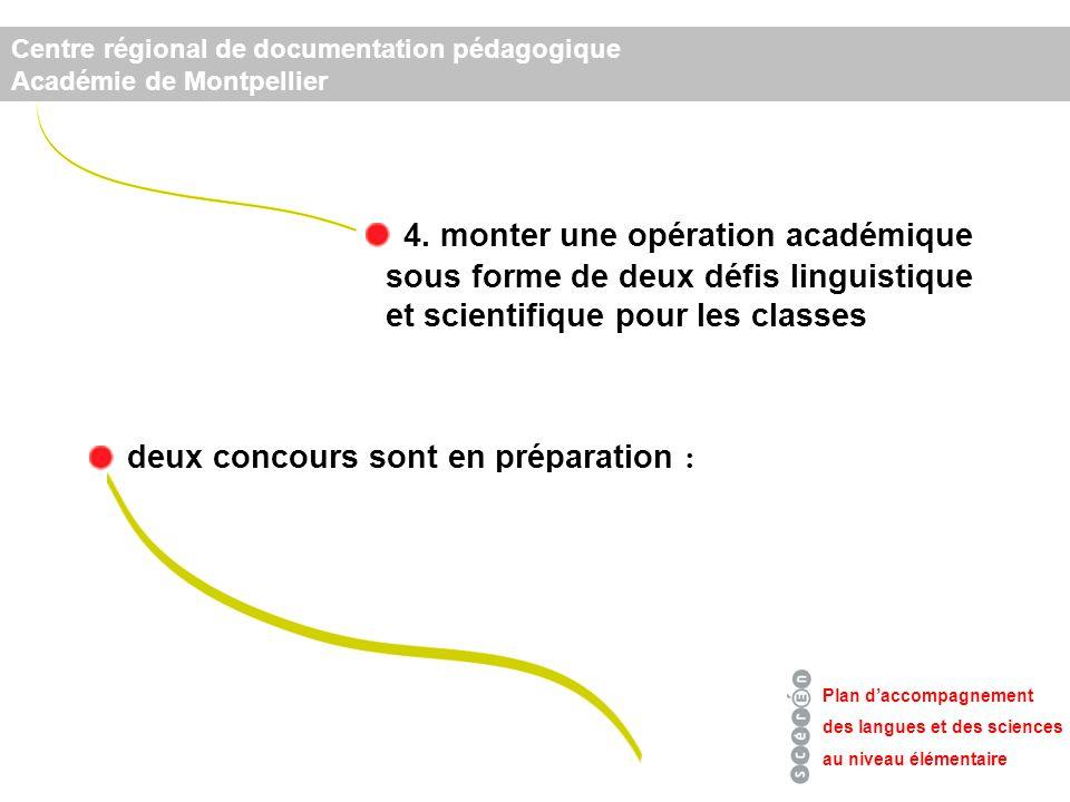 4. monter une opération académique Plan daccompagnement des langues et des sciences au niveau élémentaire Centre régional de documentation pédagogique