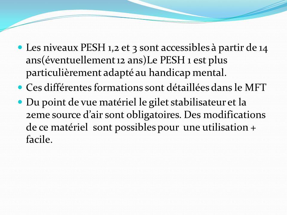 Les niveaux PESH 1,2 et 3 sont accessibles à partir de 14 ans(éventuellement 12 ans)Le PESH 1 est plus particulièrement adapté au handicap mental. Ces