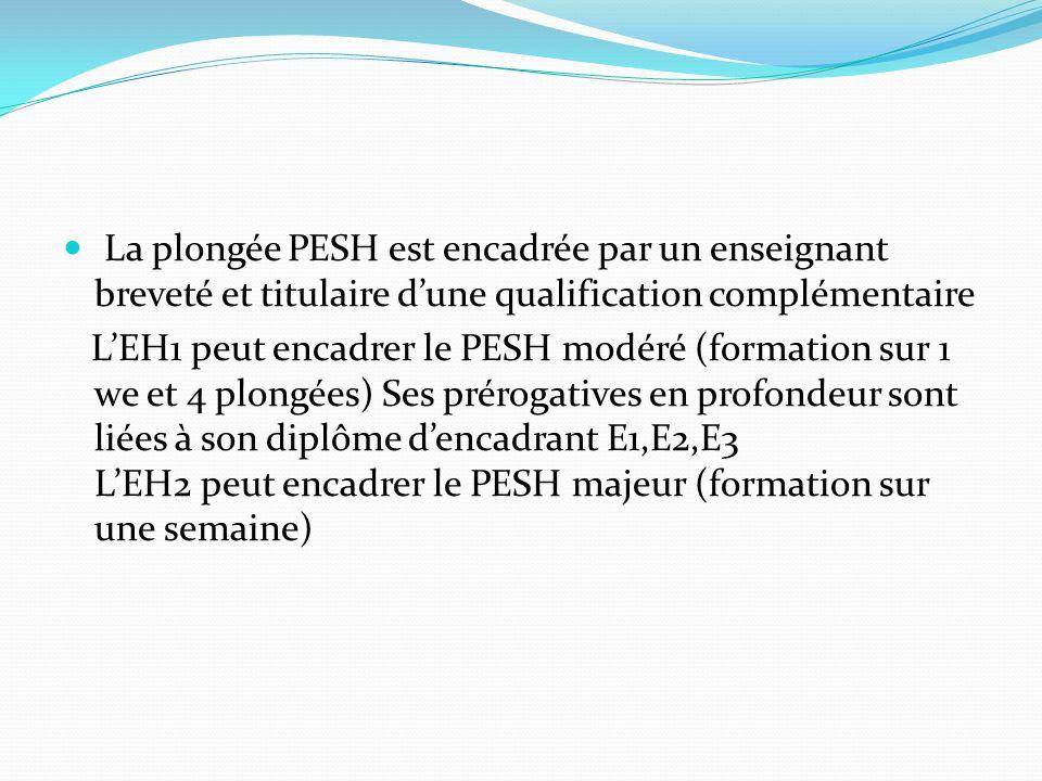 La plongée PESH est encadrée par un enseignant breveté et titulaire dune qualification complémentaire LEH1 peut encadrer le PESH modéré (formation sur