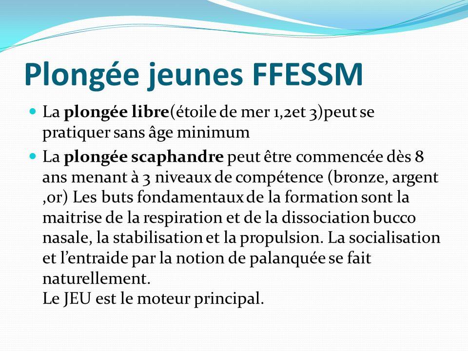Plongée jeunes FFESSM La plongée libre(étoile de mer 1,2et 3)peut se pratiquer sans âge minimum La plongée scaphandre peut être commencée dès 8 ans me