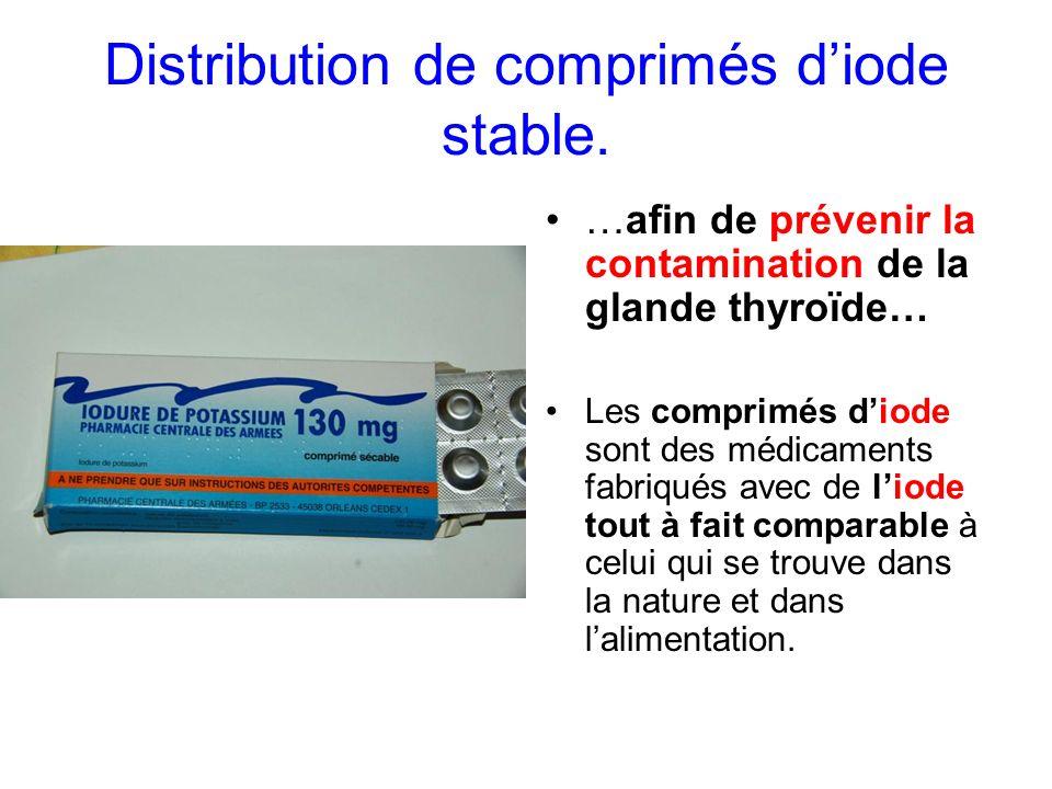 Distribution de comprimés diode stable. …afin de prévenir la contamination de la glande thyroïde… Les comprimés diode sont des médicaments fabriqués a