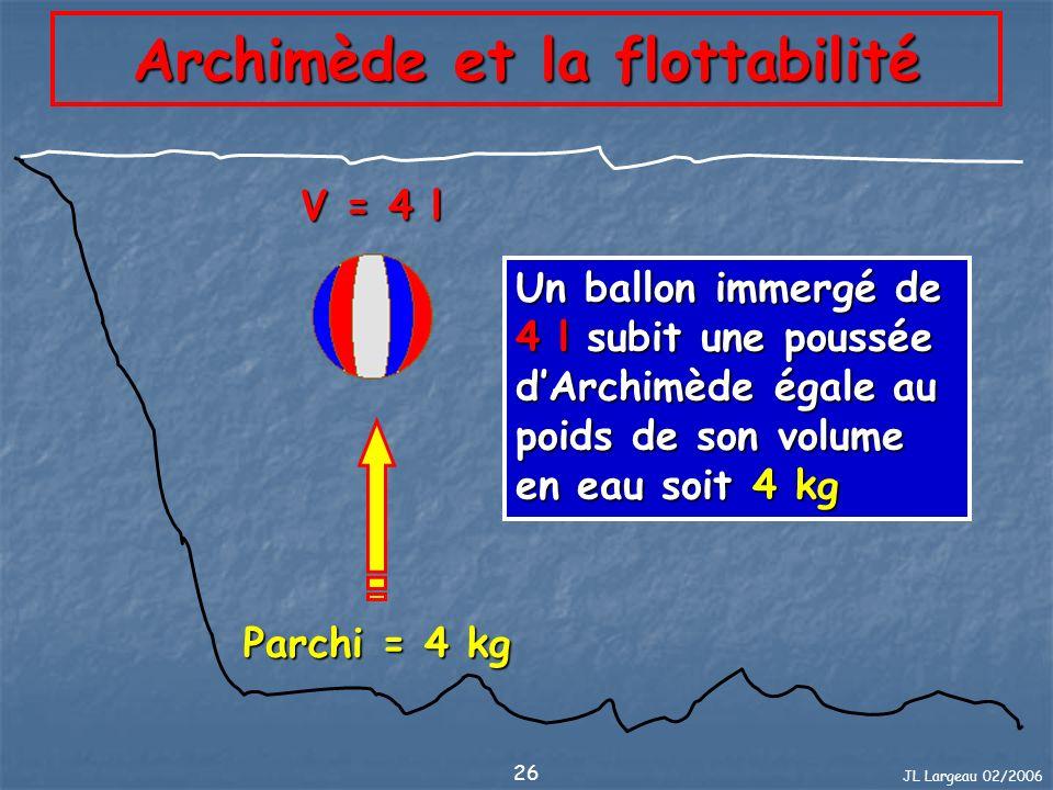 JL Largeau 02/2006 27 Archimède et la flottabilité P PArchi P : Poids réel du plongeur et de son équipement Parchi : égale au poids du volume deau déplacé par le plongeur et son équipement Poids apparent = Poids réel - Parchi P > ParchiPoid app > 0Coule P = ParchiPoid app = 0stabilisé P < ParchiPoid app < 0Flotte