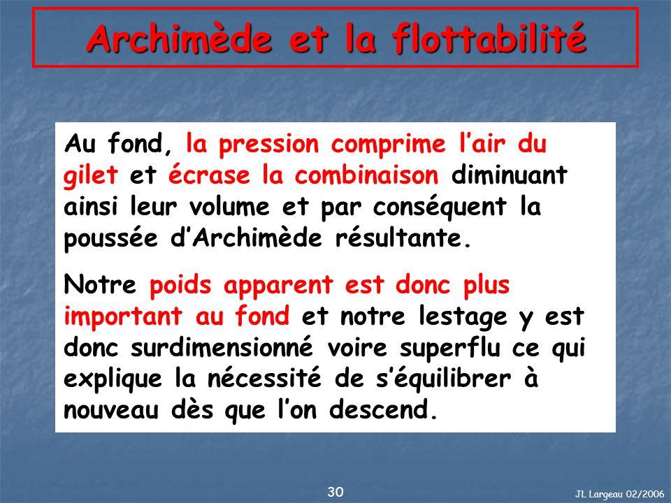 JL Largeau 02/2006 30 Archimède et la flottabilité Au fond, la pression comprime lair du gilet et écrase la combinaison diminuant ainsi leur volume et