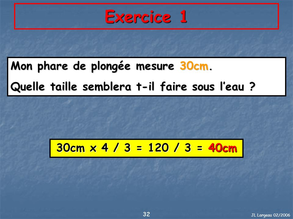 JL Largeau 02/2006 32 Exercice 1 Mon phare de plongée mesure 30cm. Quelle taille semblera t-il faire sous leau ? 30cm x 4 / 3 = 120 / 3 = 40cm