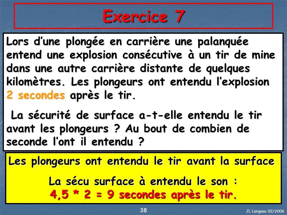 JL Largeau 02/2006 38 Exercice 7 Lors dune plongée en carrière une palanquée entend une explosion consécutive à un tir de mine dans une autre carrière
