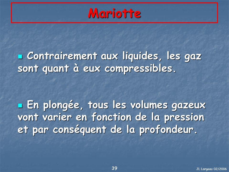 JL Largeau 02/2006 39 Mariotte Contrairement aux liquides, les gaz sont quant à eux compressibles. Contrairement aux liquides, les gaz sont quant à eu